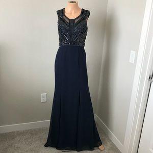 Basix Black Label Bugle Beaded Evening Dress